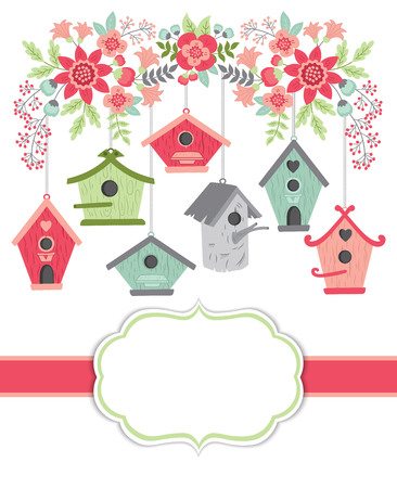 Vector card template with birdhouses and floral branch on white background. Card template for Mother's Day, bridal showers, birthdays and parties with space for your text. Vector illustration.