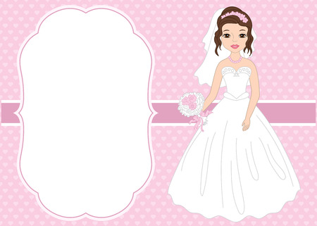 Vector card template with beautiful bride on hearts background. Card template for bridal shower and  wedding with space for your text. Vector bride. Vector illustration.