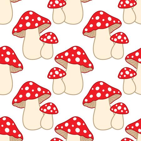 Vector seamless pattern with amanita.  Amanita seamless pattern. Vector mushrooms. Vector illustration.