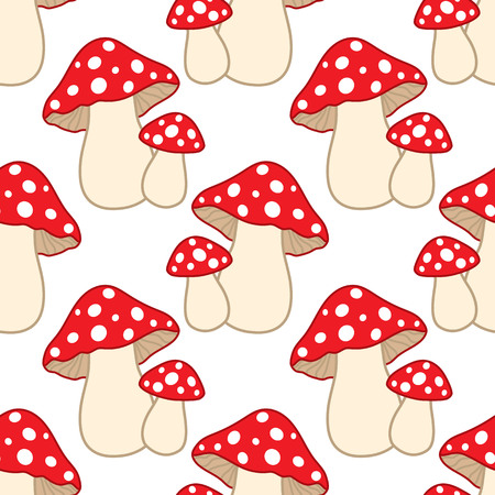 Vector seamless pattern with amanita. Amanita seamless pattern. Vector mushrooms. Vector illustration.