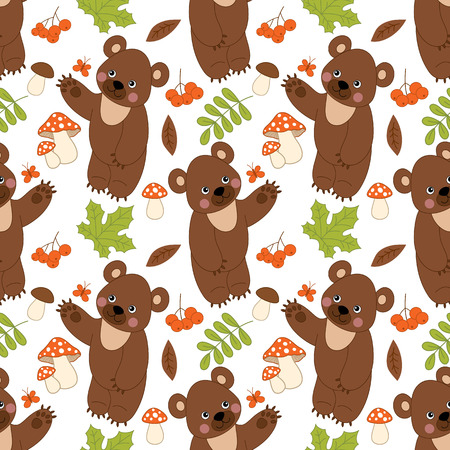 Vector seamless pattern with cute bears, mushrooms, berries  and leaves. Forest bear seamless pattern.  Vector bear. Vector illustration.