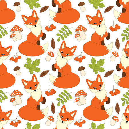 repeats: Vector seamless pattern with cute foxes, mushrooms, berries  and leaves. Fox seamless pattern. Vector fox. Vector illustration.