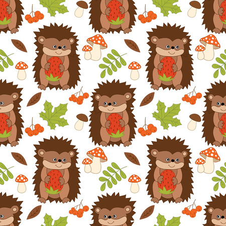 wild strawberry: Vector seamless pattern with cute hedgehogs, mushrooms, berries  and leaves. Forest hedgehog seamless pattern. Vector hedgehog. Vector illustration.