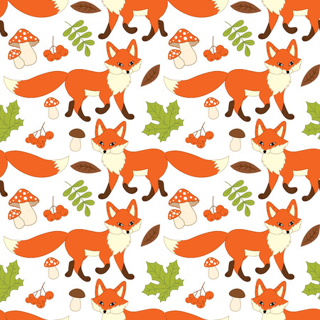 Vector seamless pattern with cute foxes, mushrooms, berries  and leaves. Fox seamless pattern. Vector fox. Vector illustration.
