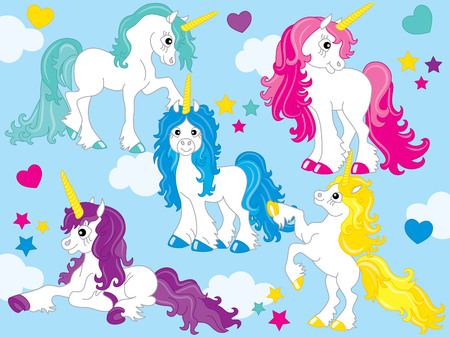 Vector set of cute unicorns with colorful mane in blue background.