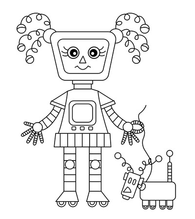 Vector black and white cute girl robot with dog. Robot vector illustration.