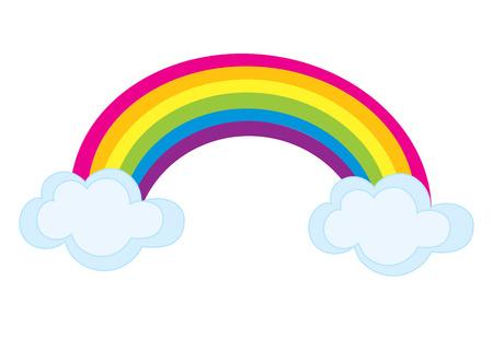 Vector colorful rainbow with clouds. Rainbow clipart. Rainbow vector illustration.