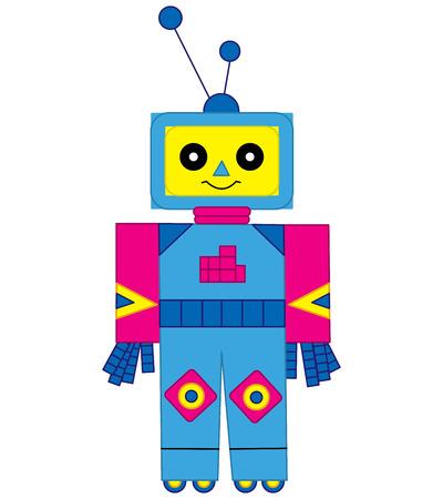 Vector colorful cute cartoon robot. Robot vector illustration. Illusztráció