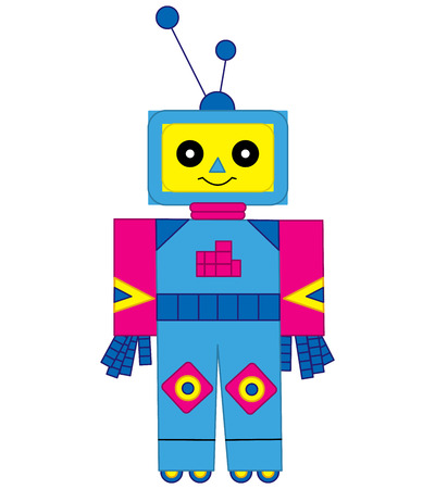Vector colorful cute cartoon robot. Robot vector illustration. Vettoriali