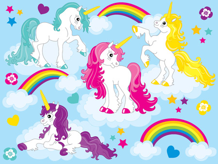 Vector set of cute unicorns with colorful mane in blue background. Imagens - 81122702