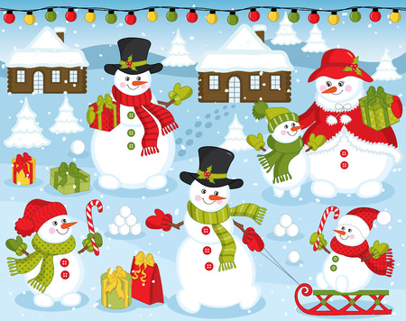 Vector happy snowman family on snow background. Vectores