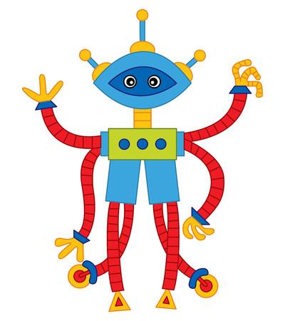 Vector colorful cute cartoon robot. Robot vector illustration. Illustration