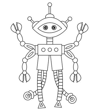 funny robot: Vector black and white cute cartoon robot