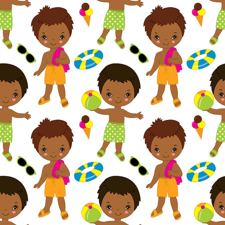 Vector seamless pattern with African American cute little boys having fun in pool.  Vector pool party.