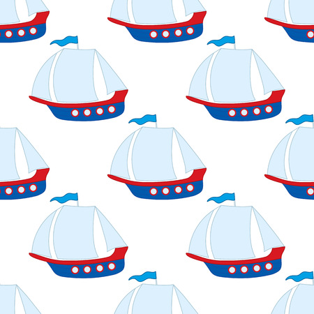 repeats: Vector seamless pattern with ship on white background. Vector boat.