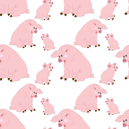 repeats: Vector seamless pattern with cute cartoon pigs on white background. Vector baby pig. Illustration