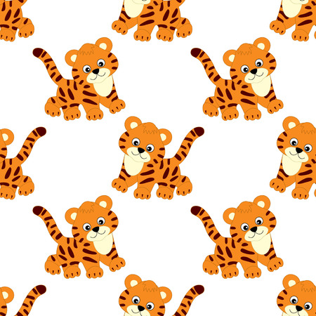 Vector seamless pattern with cute cartoon tigers on white background. Vector baby tiger. Ilustrace