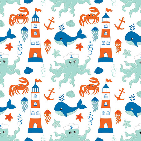 Vector seamless pattern with lighthouse, anchor, whale, octopus, jellyfish and crab on white background.