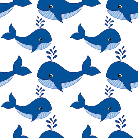 repeats: Vector seamless pattern with baby whales on white background. Vector whales.