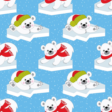 Vector Christmas and New Year seamless pattern with polar bears on  snow background.
