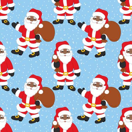 Vector Navidad y año nuevo de patrones sin fisuras con afroamericano Santa Claus sobre fondo de nieve. Ilustración de vector