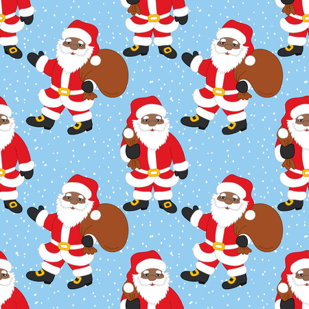 Vector Christmas and New Year seamless pattern with African American Santa Claus on snow background. Stock Illustratie