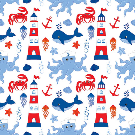 Vector seamless pattern with lighthouse, anchor, whale, octopus, jellyfish, crab and seashells on white background.