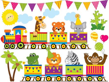 Vector safari animals travelling in the train. Set includes monkey, zebra, tiger, lion, crocodile, elephant and giraffe.  Jungle animals vector illustration.  イラスト・ベクター素材