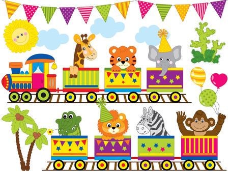 Wektor safari zwierząt podróżujących w pociągu. Zestaw zawiera małpkę, zebrę, tygrysa, lwa, krokodyla, słonia i żyrafę. Ilustracja wektorowa zwierzęta dżungli.