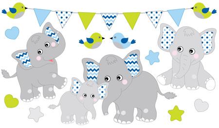 Cute elephants set. Vector elephant illustration for baby boy shower. Vector cartoon elephants. Baby elephant vector illustration.