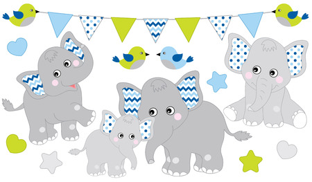 Cute elephants set. Vector elephant illustration for baby boy shower. Vector cartoon elephants. Baby elephant vector illustration.