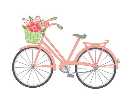 꽃 바구니와 함께 벡터 자전거입니다. 자전거 벡터 일러스트 레이 션.