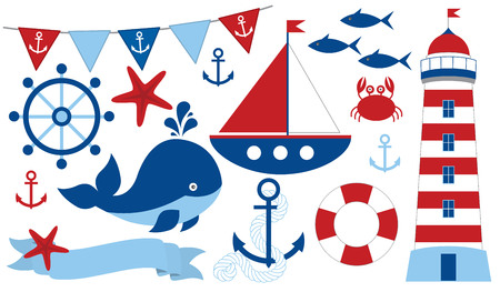 Vector nautical set with starfish, anchor, lighthouse, whale, fish, crab, ship, wheel, buoy, ribbon and flags. Marine life vector illustration. Ilustração