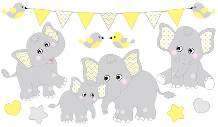 Cute elephants set. Vector elephant illustration for baby shower. Vector cartoon elephants. Baby elephant vector illustration.