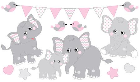 Zestaw ładny słonie. Ilustracja wektorowa słoń na baby girl shower. Słonie kreskówka wektor. Ilustracja wektorowa słoniątka. Ilustracje wektorowe