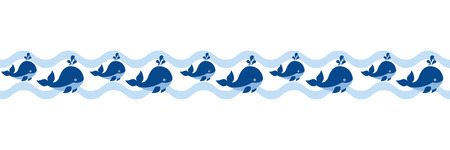 Vector nautical seamless border with cute cartoon whales. Nautical border vector illustration.