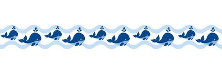 Vector nautische naadloze grens met schattige cartoon walvissen. Nautische grens vectorillustratie. Stock Illustratie