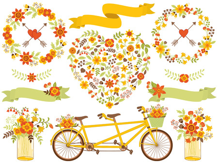 Vector romantic autumn set includes floral heart, tandem, wreath, flowers, ribbons and hearts. Romantic set for wedding, birthday, bridal shower and Thanksgiving Day. Floral set vector illustration.