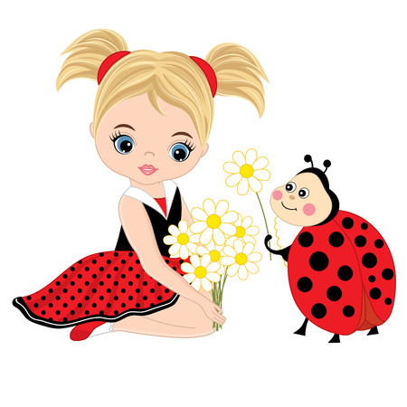 Vector cute little girl with ladybug and flowers. Vector little girl in polka dot dress. Ladybug and little girl vector illustration.