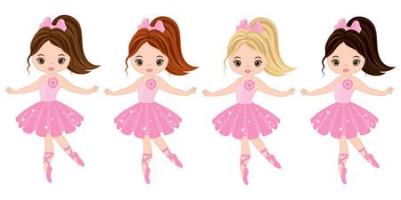 Vector ballerine carino con vari colori dei capelli. Ballerine vettoriali in abiti rosa di tutu. Illustrazione vettoriale di ballerine Vettoriali