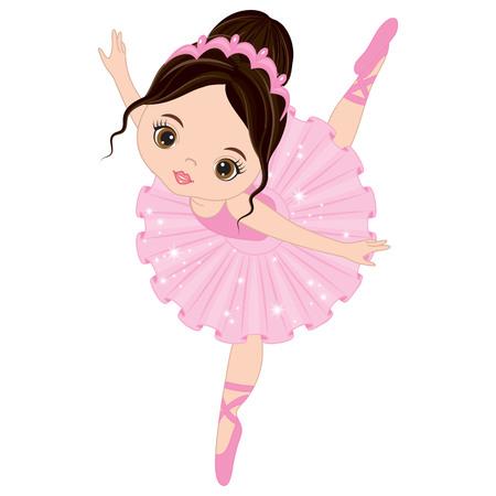 Vector cute little ballerina dancing. Vector ballerina girl in pink tutu dress. Ballerina vector illustration