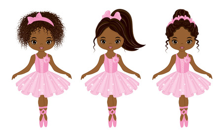 Vector cute little African American ballerinas with various hairstyles. Vector ballerinas in pink tutu dresses. African American ballerinas vector illustration Vectores