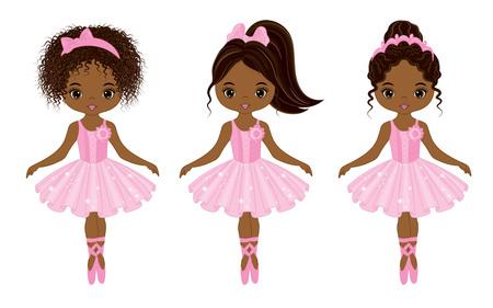 Vector schattige kleine Afrikaanse Amerikaanse ballerina's met verschillende kapsels. Vector ballerina's in roze tutu jurken. Afrikaanse Amerikaanse ballerina's vectorillustratie Stockfoto - 82937233