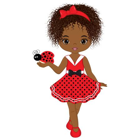 Vector linda niña afroamericana con mariquita. Vector niña en vestido de lunares y lazo rojo. Mariquita y pequeña ilustración de vector de chica