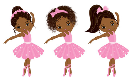 Vector cute little African American ballerinas with various hairstyles. Vector ballerinas in pink tutu dresses. African American ballerinas vector illustration Ilustração