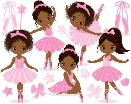 Vector conjunto con lindas bailarinas afroamericanas, arcos y zapatos de ballet. Bailarinas de vector en vestidos de tutú rosa. Ilustración de vector de bailarinas afroamericanas
