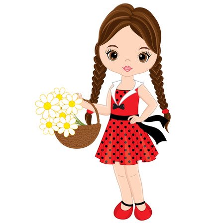 Vector cute little girl with basket of lowers . Vector little girl in polka dot dress. Little girl vector illustration. Illustration
