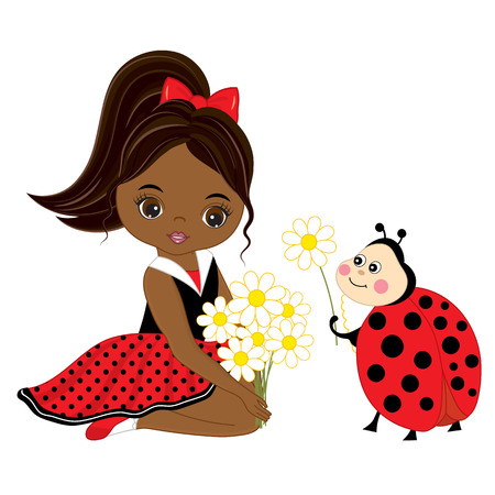 Vector cute little African American girl with ladybug and flowers. Vector little girl in polka dot dress and red bow. Ladybug and little girl vector illustration