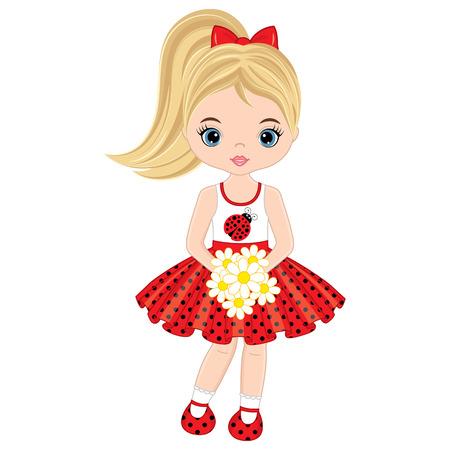 Vector schattig klein meisje met bloemen. Vector klein meisje in polka dot jurk. Klein meisje vectorillustratie
