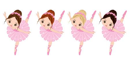 様々 な髪の色のかわいい小さなバレリーナをベクトルします。ベクトル バレリーナ ピンクのチュチュ ドレスで。バレリーナ ベクトル イラスト